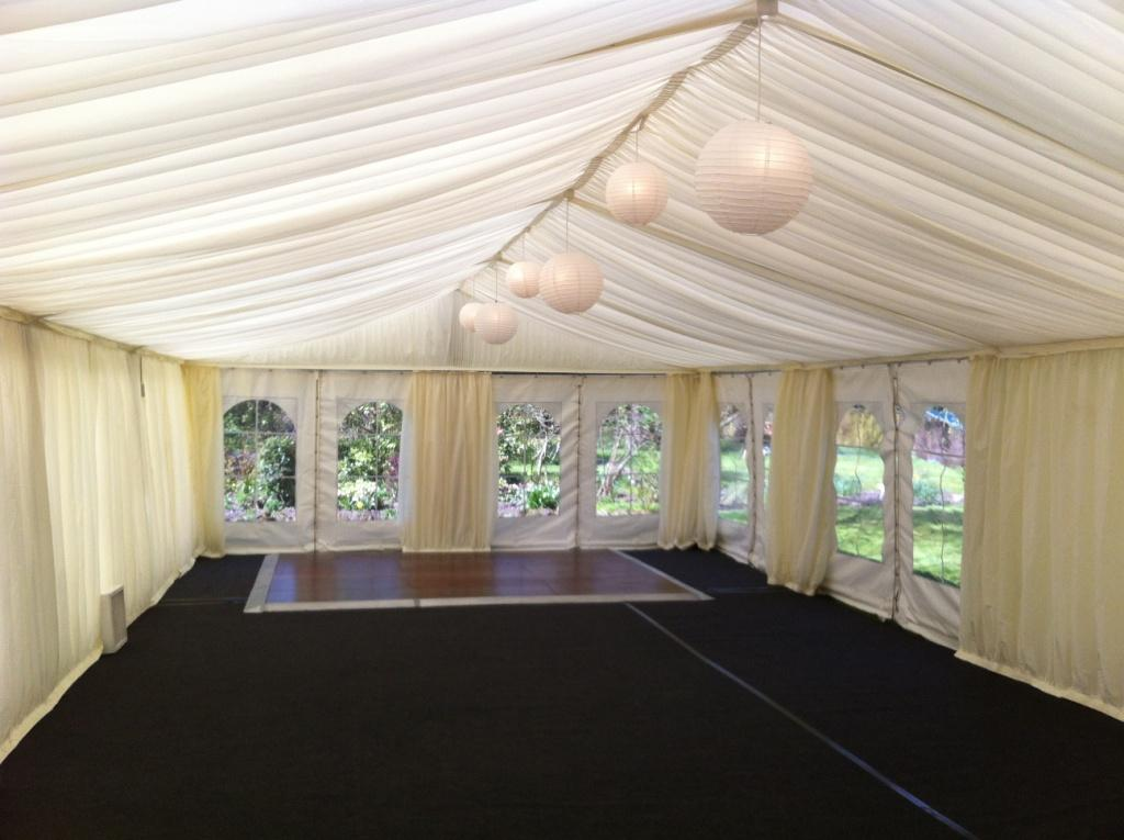 Paper lanterns in wedding marquee