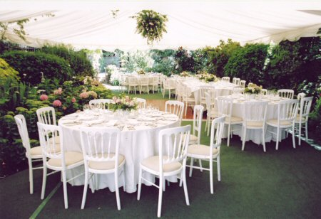 Floral display centerpieces for wedding marquee